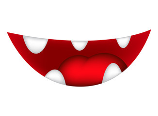 Cartoon smile, mouth, lips with teeth and tongue. vector illustration isolated on white background