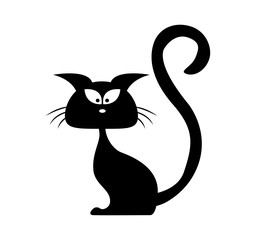 Halloween black cat vector silhouette. Cartoon clipart Illustration isolated on white background