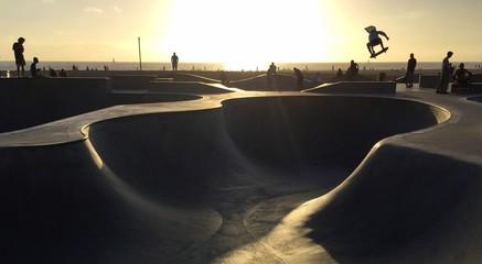 Skateboarding in Venice Beach
