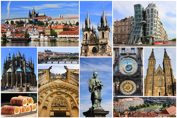 Wall Murals Prague Colorful collage of landmarks of Prague