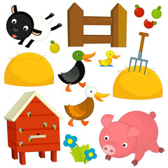 Cartoon farm elements - set - illustration for the children