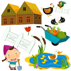 Cartoon farm set - illustration for the children