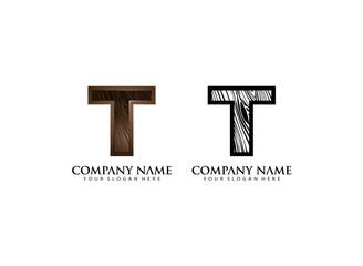 initial T wooden texture contour vector logo icon