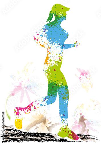 Course pied abstrait logo peinture fichier vectoriel libre de droits sur la banque d - Dessin de course a pied ...
