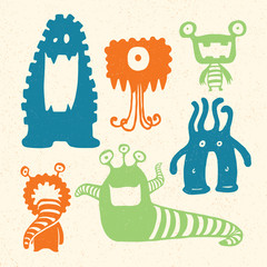 Cartoon Monsters. Vector Illustration of cartoon monsters.