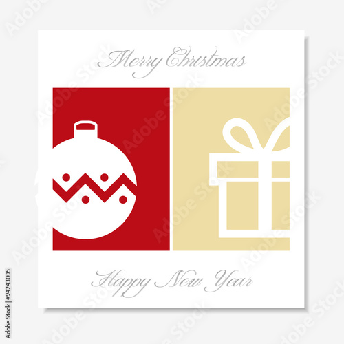 christmas card with ball ornament and present box silhouette on red and gold background gift