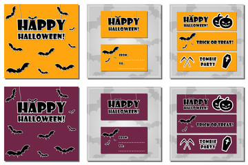 Collection of halloween backgrounds, gift card and banners with bat patterned backgrounds and custom scary fonts. Holiday vector banners for halloween in orange and purple color.
