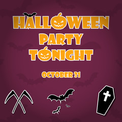 Halloween Party graphic background with bat texture background; Holiday template with Halloween Party Tonight text and scythe, bat corpse icons. Custom Halloween party text with halloween symbols.