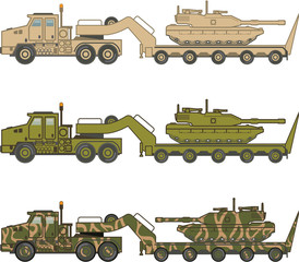 Military Truck pulling tank vector