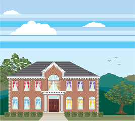 Large mansion house vector brick detailed.
