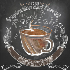 Coffee vector poster with hand drawn coffee mug