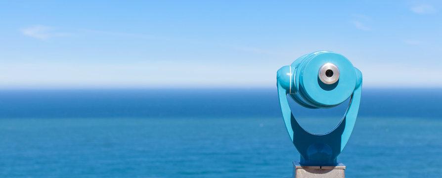 panorama of binoculars and ocean