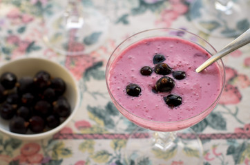 Healthy breakfast. Smoothie with black currant