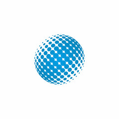 Abstract sphere swirl icon Logo, Blue dots design