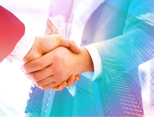 Shake hand for business photo illustration for business background.