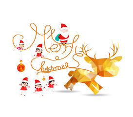 Merry christmas with deer and balls gold geometrical greeting card
