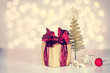 Christmas background with small gifts and home decoration