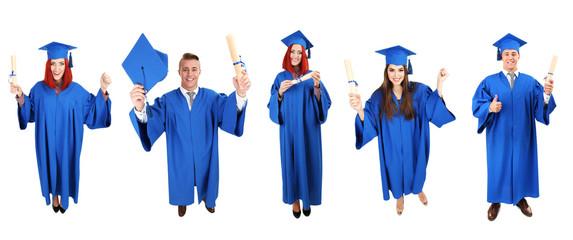 Graduating students, isolated on white