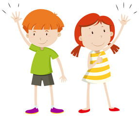 Boy and girl having their hands up