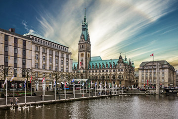 Hamburg, Germany, town hall (Rathous), river Alster