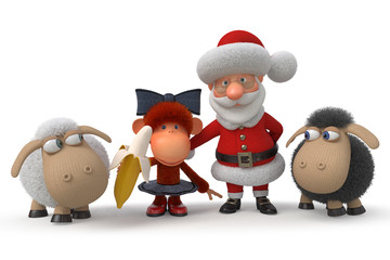 3d Santa Claus with the monkey and lambs