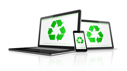 Electronic devices with a recycling symbol on screen. environmen
