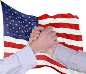 Handshake for American Flag