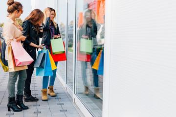 Girls enjoy in the shopping time