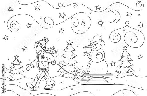 schneemann winterbilder zum ausmalen  malvorlagen