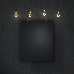 Blank black poster a concrete wall hanging under decorative light bulbs.