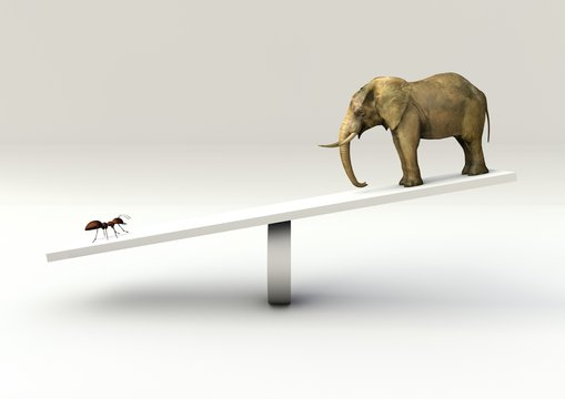 Weighing concept of an ant and an Elephant on a Seesaw