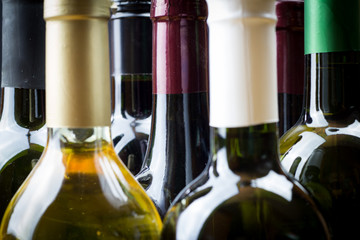 Wine bottles in a row isolated on a gray background