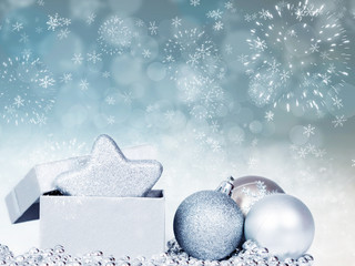 Holiday background with sparkling lights and Christmas decoratio