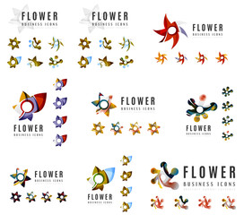 Set of company logotype branding designs, flower blooming