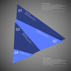 Infographic template of triangle cut to four blue parts