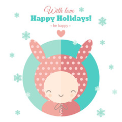 Greeting card with fun child for holidays in flat