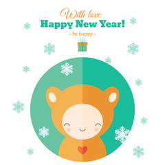 Greeting card with fun child for New Year in flat