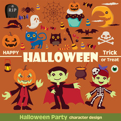 Vintage Halloween character poster design set with vampire, skeleton