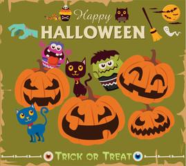 Vintage Halloween character poster design set with cat, owl, pumpkin