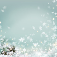 Abstract winter background with snowfakes
