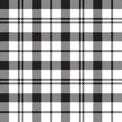 Black Watch milytary tartan seamless pattern black and white