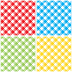 set checkered colored tablecloth diagonal seamless pattern