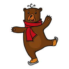 smiling Bear in red scarf skating on ice, vector illustration