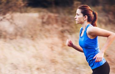 Woman running at nature