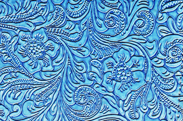 Blue Leather Embossed with a Floral Pattern