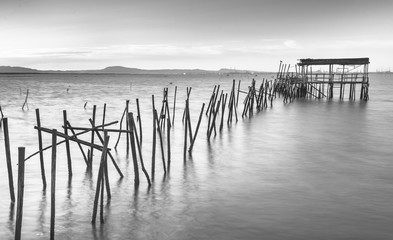 Ancient pier at black and white