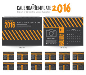 Desk Calendar 2016 Vector Design Template. Big set of 12 Months. Week Starts Sunday