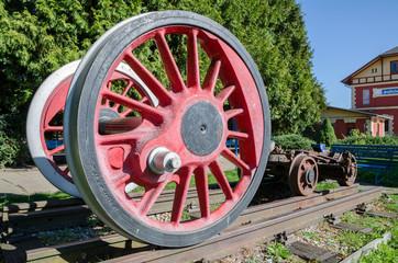 huge wheels of the train
