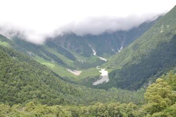 上高地 岳沢 穂高連峰 山