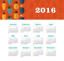 Calendar for 2016. Week Starts Sunday.